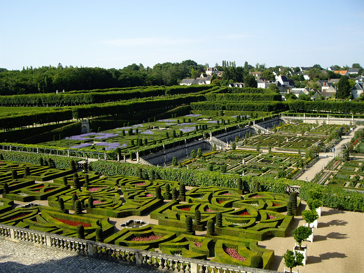 Traditional topiary again fills the squares of the parterre at the Château de Villandry, France.