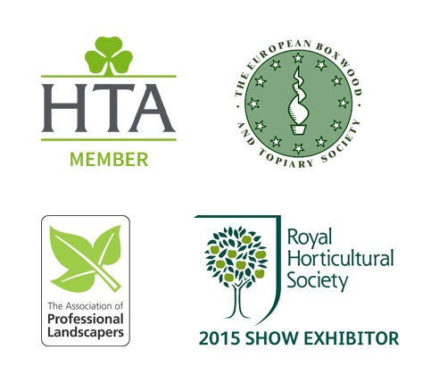 Logos for: HTA Member, The European Boxwood And Topiary Society, The Association of Professional Landscapers, RHS 2015 Show Exhibitor