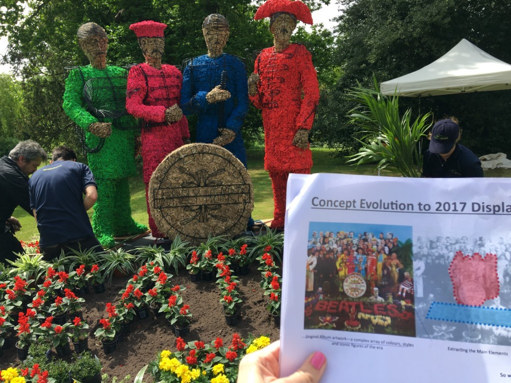 Comparing the Sgt Pepper topiary to the original album cover