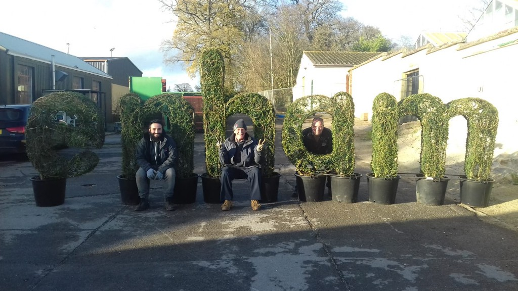 Bespoke Topiary Art Letters donated to Enham Trust