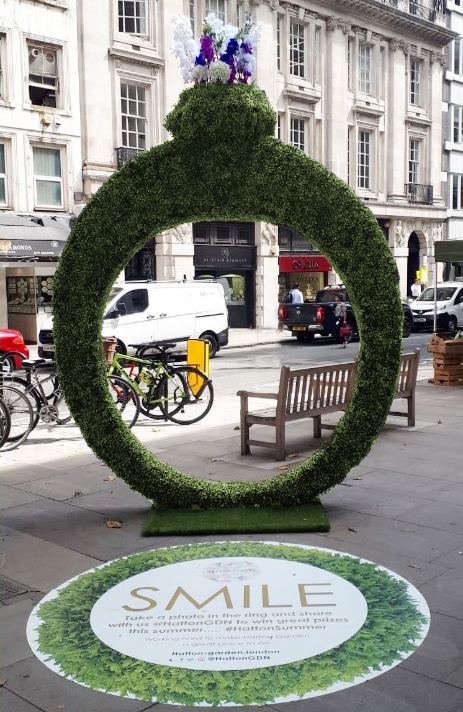 Topiary ring on site at Hatton Garden
