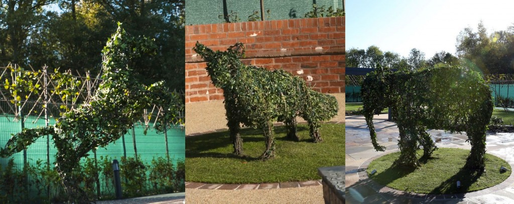 Topiary Horse, Fox and Elephant in memorial garden
