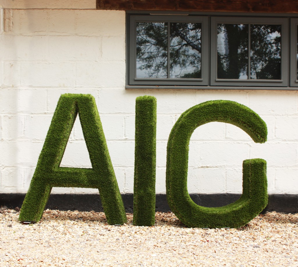 Artificial grass letters spelling out AIG