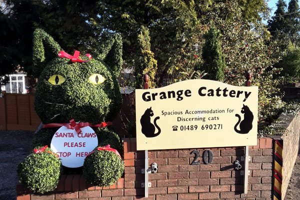 Artificial boxwood cat covered in Christmas decorations
