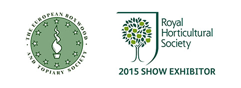 Logos for:  The European Boxwood And Topiary Society, RHS 2015 Show Exhibitor