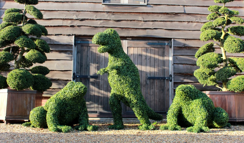 Artificial Boxwood T-Rex and Frogs